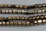 CHE854 15.5 inches 2*2mm dice platedhematite beads wholesale