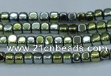 CHE855 15.5 inches 2*2mm dice platedhematite beads wholesale