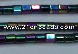 CHE891 15.5 inches 2*2mm faceted tube plated hematite beads wholesale