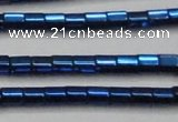 CHE892 15.5 inches 2*2mm faceted tube plated hematite beads wholesale