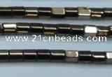 CHE897 15.5 inches 3*3mm faceted tube plated hematite beads wholesale