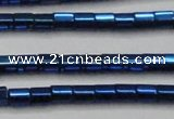 CHE902 15.5 inches 3*3mm faceted tube plated hematite beads wholesale
