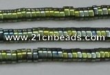 CHE932 15.5 inches 1*2*3mm oval plated hematite beads wholesale