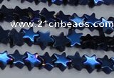 CHE951 15.5 inches 6mm star plated hematite beads wholesale