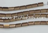 CHE955 15.5 inches 2*4mm cuboid plated hematite beads wholesale
