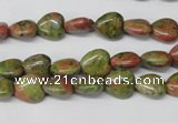 CHG01 15.5 inches 8*8mm heart unakite gemstone beads wholesale