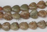CHG14 15.5 inches 10*10mm heart New unakite gemstone beads wholesale