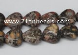 CHG35 12*12mm heart red leopard skin jasper beads wholesale