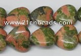 CHG60 15.5 inches 16*16mm heart unakite gemstone beads wholesale