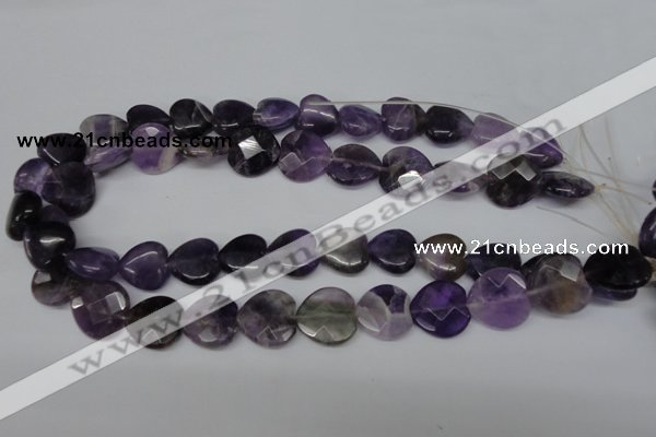 CHG97 15.5 inches 18*18mm faceted heart amethyst beads wholesale