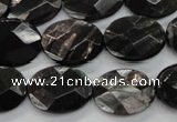 CHS15 15.5 inches 15*20mm faceted oval natural hypersthene beads