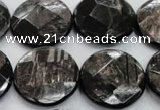 CHS21 15.5 inches 20mm faceted coin natural hypersthene beads