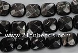 CHS25 15.5 inches 10*10mm faceted square natural hypersthene beads