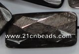 CHS42 15.5 inches 25*50mm faceted rectangle natural hypersthene beads