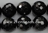 CHS50 15.5 inches 18mm faceted round natural hypersthene beads
