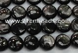 CHS60 15.5 inches 10mm flat round natural hypersthene beads