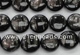 CHS61 15.5 inches 12mm flat round natural hypersthene beads