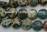 CIJ28 15.5 inches 12mm flat round impression jasper beads wholesale