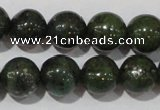 CIS02 15.5 inches 8mm round green iron stone beads wholesale