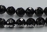 CJB07 16 inches 10mm faceted round natural jet gemstone beads wholesale