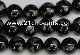CJB153 15.5 inches 12mm round natural jet & pyrite gemstone beads