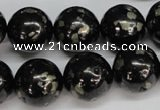 CJB156 15.5 inches 18mm round natural jet & pyrite gemstone beads