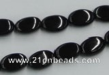 CJB16 16 inches 8*12mm oval natural jet gemstone beads wholesale