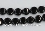 CJB19 16 inches 8mm flat round natural jet gemstone beads wholesale