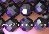 CJB201 15.5 inches 6mm faceted round jet beads wholesale