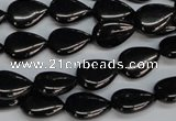 CJB68 15.5 inches 10*14mm flat teardrop natural jet gemstone beads
