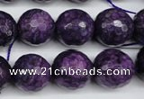 CJJ17 15.5 inches 16mm faceted round dyed lucky jade beads