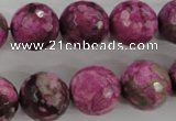 CJJ27 15.5 inches 16mm faceted round dyed lucky jade beads