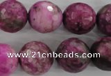 CJJ28 15.5 inches 18mm faceted round dyed lucky jade beads