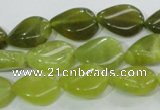 CKA114 15.5 inches 13*18mm twisted flat teardrop Korean jade beads
