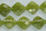 CKA117 15.5 inches 14*14mm faceted diamond Korean jade beads