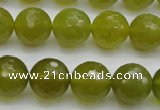 CKA220 15.5 inches 14mm faceted round Korean jade gemstone beads