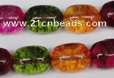 CKQ113 15.5 inches 14*18mm drum dyed crackle quartz beads
