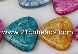 CKQ136 15.5 inches 25*25mm triangle dyed crackle quartz beads