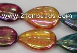 CKQ158 15.5 inches 18*25mm flat teardrop AB-color crackle quartz beads