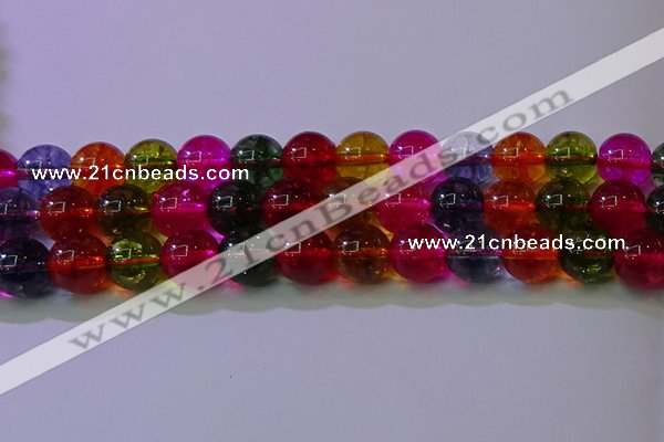 CKQ392 15.5 inches 8mm round dyed crackle quartz beads