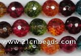 CKQ44 15.5 inches 12mm faceted round dyed crackle quartz beads
