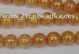 CKQ91 15.5 inches 6mm round AB-color dyed crackle quartz beads