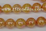 CKQ93 15.5 inches 10mm round AB-color dyed crackle quartz beads