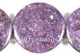 CKU06 15 inches 30mm coin purple kunzite beads wholesale