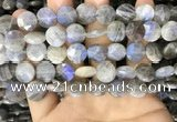 CLB1039 15.5 inches 12mm faceted coin labradorite beads wholesale