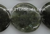 CLB139 15.5 inches 30mm flat round labradorite gemstone beads