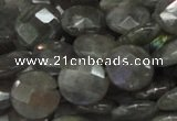 CLB14 16 inches 14mm faceted coin labradorite gemstone beads