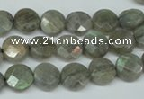 CLB190 15.5 inches 10mm faceted coin labradorite gemstone beads