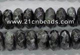 CLB323 15.5 inches 7*14mm faceted rondelle black labradorite beads