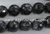 CLB364 15.5 inches 14mm faceted round black labradorite beads wholesale